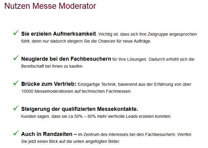 Nürnberger Messe mit Ihrem Messe Moderator